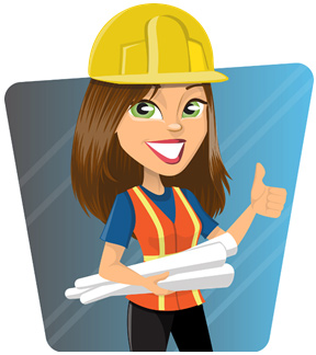Illustration of lady construction worker with hard hat and vest smiling and giving a thumbs up while carrying rolled up blueprints with her other hand