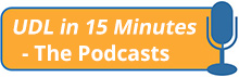 UDL in 15 Minutes - The Podcasts (orange rounded rectangle with blue microphone illustration)